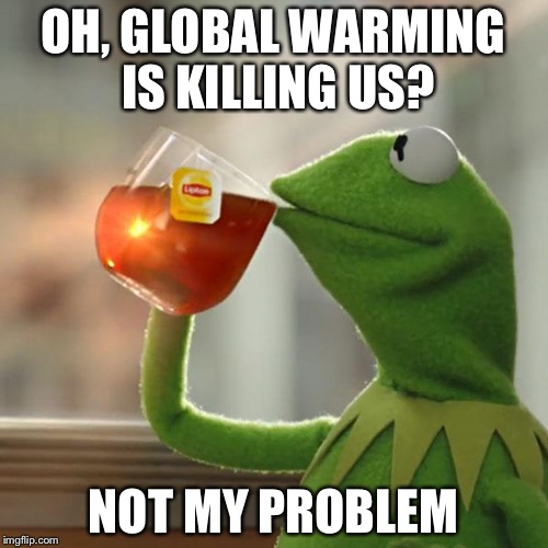 But Thats None Of My Business Meme | OH, GLOBAL WARMING IS KILLING US? NOT MY PROBLEM | image tagged in memes,but thats none of my business,kermit the frog | made w/ Imgflip meme maker