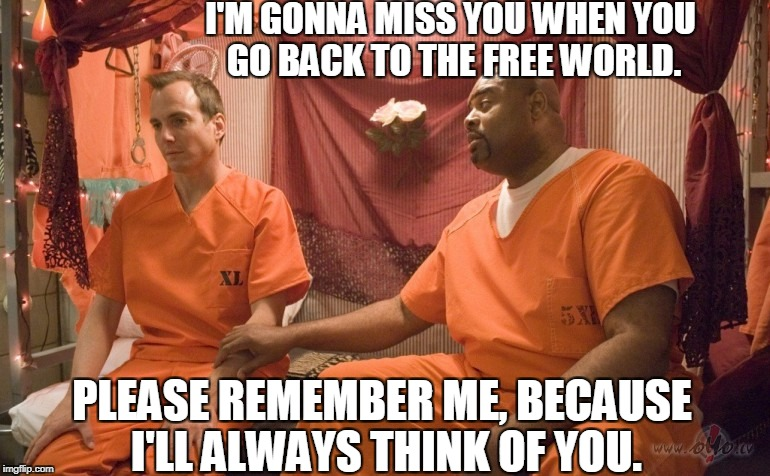 I'M GONNA MISS YOU WHEN YOU GO BACK TO THE FREE WORLD. PLEASE REMEMBER ME, BECAUSE I'LL ALWAYS THINK OF YOU. | made w/ Imgflip meme maker