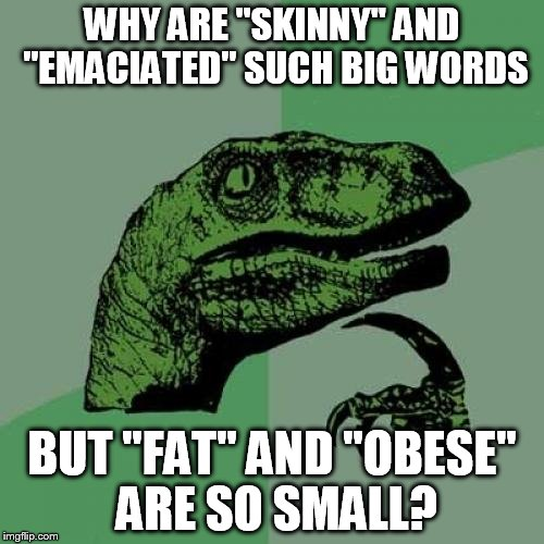 "Show me your fat and I'll show you my skinny | WHY ARE ""SKINNY"" AND ""EMACIATED"" SUCH BIG WORDS BUT ""FAT"" AND ""OBESE"" ARE SO SMALL? 