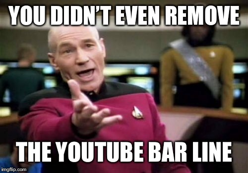 Picard Wtf Meme | YOU DIDN'T EVEN REMOVE THE YOUTUBE BAR LINE | image tagged in memes,picard wtf | made w/ Imgflip meme maker