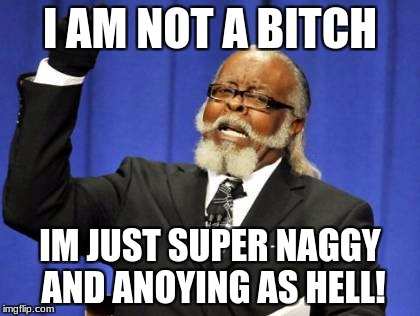 Too Damn High Meme | I AM NOT A B**CH IM JUST SUPER NAGGY AND ANOYING AS HELL! | image tagged in memes,too damn high | made w/ Imgflip meme maker