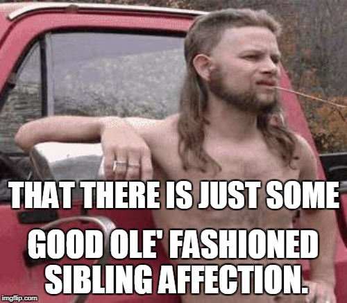 THAT THERE IS JUST SOME GOOD OLE' FASHIONED SIBLING AFFECTION. | made w/ Imgflip meme maker