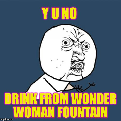 Y U No Meme | Y U NO DRINK FROM WONDER WOMAN FOUNTAIN | image tagged in memes,y u no | made w/ Imgflip meme maker