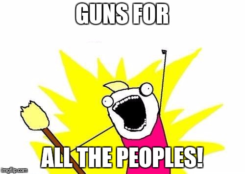 X All The Y Meme | GUNS FOR ALL THE PEOPLES! | image tagged in memes,x all the y | made w/ Imgflip meme maker