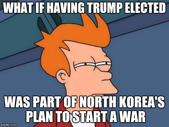Futurama Fry Meme | WHAT IF HAVING TRUMP ELECTED WAS PART OF NORTH KOREA'S PLAN TO START A WAR | image tagged in memes,futurama fry | made w/ Imgflip meme maker