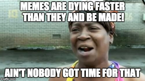 Aint Nobody Got Time For That Meme | MEMES ARE DYING FASTER THAN THEY AND BE MADE! AIN'T NOBODY GOT TIME FOR THAT | image tagged in memes,aint nobody got time for that | made w/ Imgflip meme maker