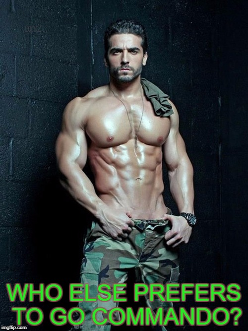WHO ELSE PREFERS TO GO COMMANDO? | image tagged in commando | made w/ Imgflip meme maker