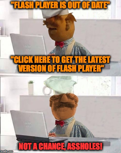 "A Familiar Pop-Up on Some Streaming Sites -- DO NOT FALL FOR IT! | ""FLASH PLAYER IS OUT OF DATE"" NOT A CHANCE, ASSHOLES! ""CLICK HERE TO GET THE LATEST VERSION OF FLASH PLAYER"" 