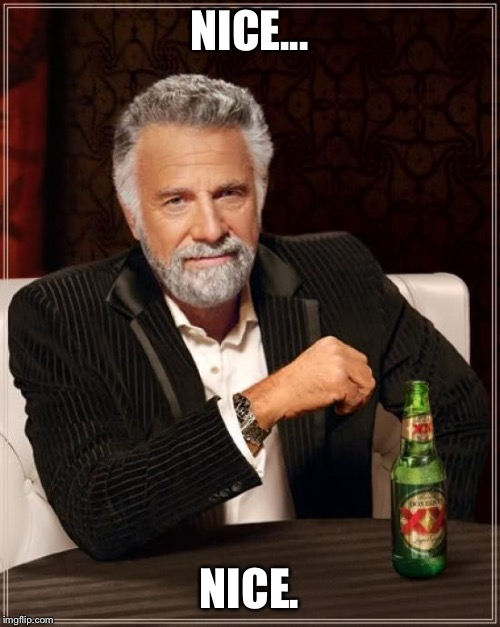 The Most Interesting Man In The World Meme | NICE... NICE. | image tagged in memes,the most interesting man in the world | made w/ Imgflip meme maker