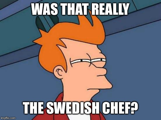Futurama Fry Meme | WAS THAT REALLY THE SWEDISH CHEF? | image tagged in memes,futurama fry | made w/ Imgflip meme maker