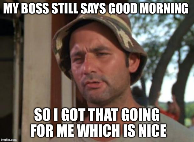So I Got That Goin For Me Which Is Nice Meme | MY BOSS STILL SAYS GOOD MORNING SO I GOT THAT GOING FOR ME WHICH IS NICE | image tagged in memes,so i got that goin for me which is nice | made w/ Imgflip meme maker