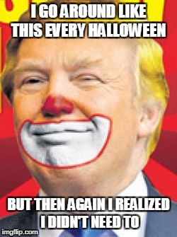 Donald Trump the Clown | I GO AROUND LIKE THIS EVERY HALLOWEEN BUT THEN AGAIN I REALIZED I DIDN'T NEED TO | image tagged in donald trump the clown | made w/ Imgflip meme maker