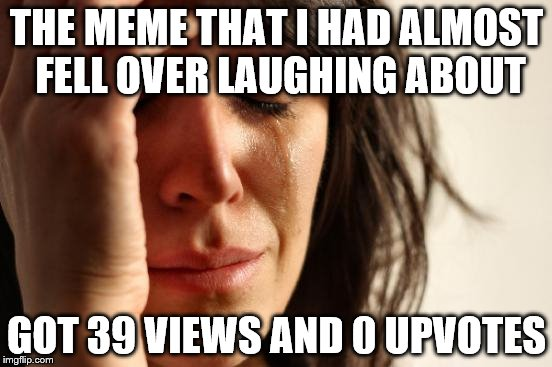 First World Problems Meme | THE MEME THAT I HAD ALMOST FELL OVER LAUGHING ABOUT GOT 39 VIEWS AND 0 UPVOTES | image tagged in memes,first world problems | made w/ Imgflip meme maker