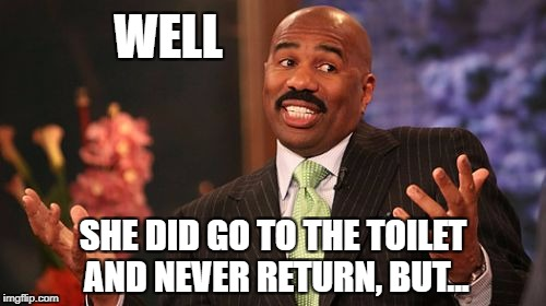 Steve Harvey Meme | WELL SHE DID GO TO THE TOILET AND NEVER RETURN, BUT... | image tagged in memes,steve harvey | made w/ Imgflip meme maker
