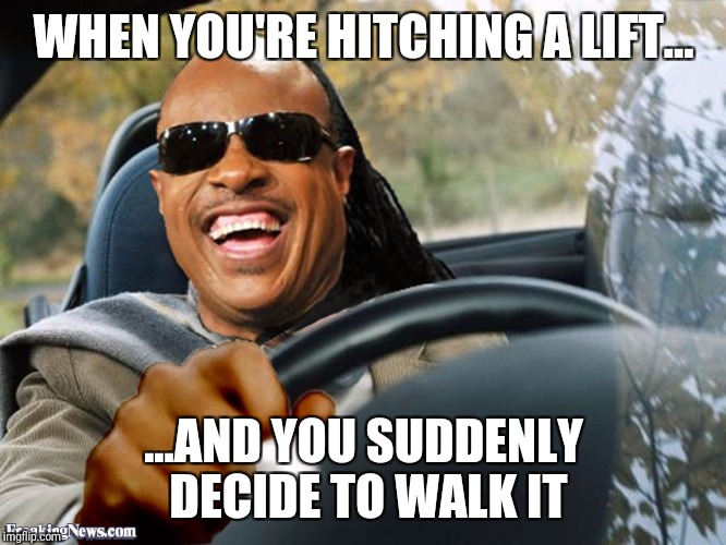 Stevie Wonder Driving | WHEN YOU'RE HITCHING A LIFT... ...AND YOU SUDDENLY DECIDE TO WALK IT | image tagged in stevie wonder driving | made w/ Imgflip meme maker