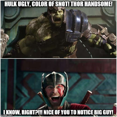 superheroes be like... | HULK UGLY, COLOR OF SNOT! THOR HANDSOME! I KNOW, RIGHT?!!! NICE OF YOU TO NOTICE BIG GUY! | image tagged in thor ragnarok,hulk,marvel,superheroes,thor,avengers | made w/ Imgflip meme maker