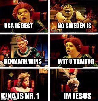 Shrek | USA IS BEST                       NO SWEDEN IS KINA IS NR. 1                 IM JESUS DENMARK WINS               WTF U TRAITOR | image tagged in shrek | made w/ Imgflip meme maker