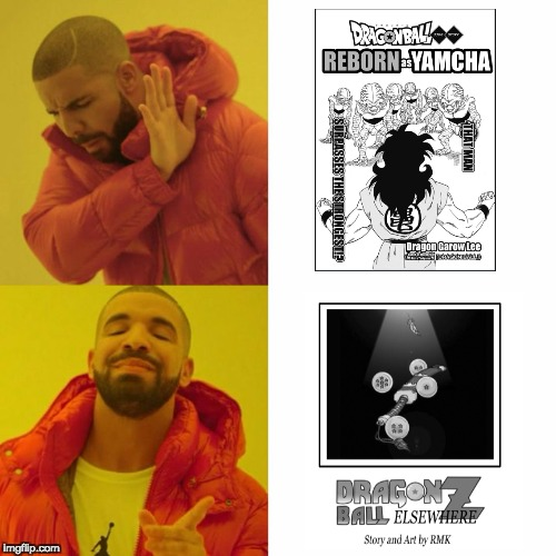 My opinion on DBZ fan comics | image tagged in drake blank | made w/ Imgflip meme maker