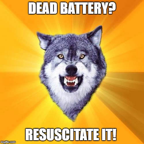 Courage Wolf Meme | DEAD BATTERY? RESUSCITATE IT! | image tagged in memes,courage wolf | made w/ Imgflip meme maker