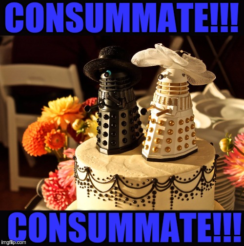 When Daleks get married!!! (͡• ͜ʖ ͡•) | CONSUMMATE!!! CONSUMMATE!!! | image tagged in memes,funny,daleks,doctor who,dr who,weddings | made w/ Imgflip meme maker