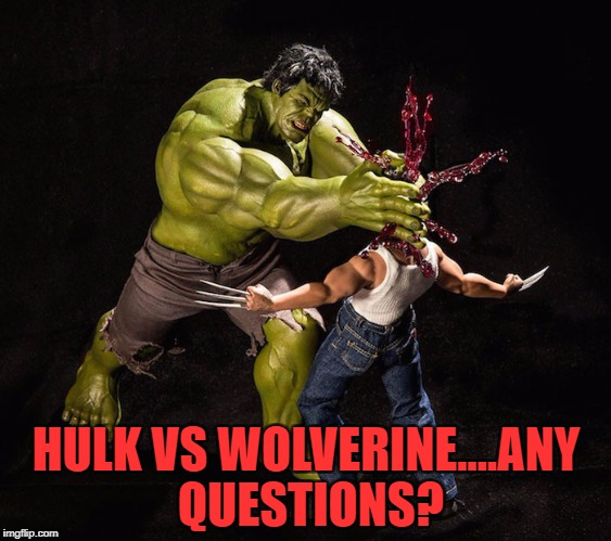Superhero Week Now. 12 to 18 - A Pipe_Picasso and Madolite event | HULK VS WOLVERINE....ANY QUESTIONS? | image tagged in hulk vs wolverine,memes,superhero week,superhero vs superhero,hulk,wolverine | made w/ Imgflip meme maker