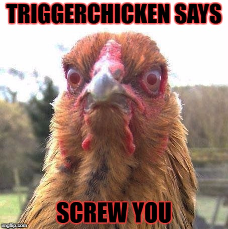 TRIGGERCHICKEN SAYS SCREW YOU | made w/ Imgflip meme maker