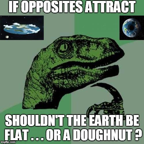 Those crazy magnetic poles | IF OPPOSITES ATTRACT SHOULDN'T THE EARTH BE FLAT . . . OR A DOUGHNUT ? | image tagged in memes,philosoraptor | made w/ Imgflip meme maker