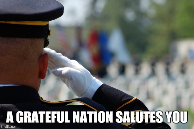 A GRATEFUL NATION SALUTES YOU | image tagged in salute | made w/ Imgflip meme maker
