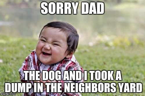 Evil Toddler Meme | SORRY DAD THE DOG AND I TOOK A DUMP IN THE NEIGHBORS YARD | image tagged in memes,evil toddler | made w/ Imgflip meme maker