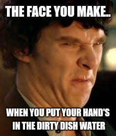 THE FACE YOU MAKE.. WHEN YOU PUT YOUR HAND'S IN THE DIRTY DISH WATER | image tagged in disgusted sherlock | made w/ Imgflip meme maker