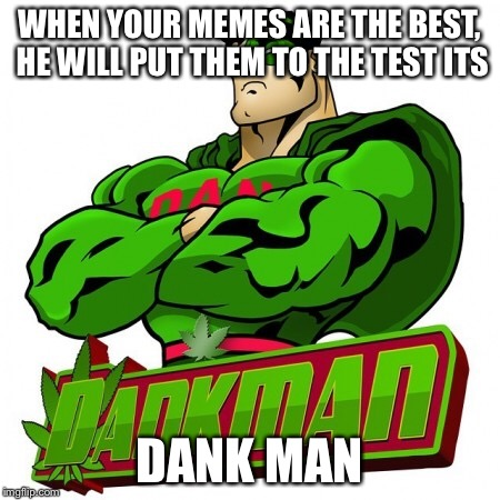 WHEN YOUR MEMES ARE THE BEST, HE WILL PUT THEM TO THE TEST ITS DANK MAN | image tagged in dank memes | made w/ Imgflip meme maker