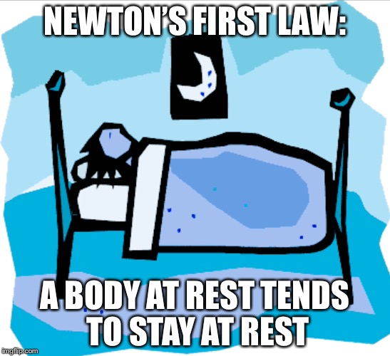 The REAL reason you can't get up in the morning | NEWTON'S FIRST LAW: A BODY AT REST TENDS TO STAY AT REST | image tagged in sleep,let me sleep,sir isaac newton,physics,science | made w/ Imgflip meme maker