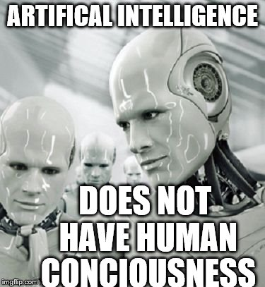Robots | ARTIFICAL INTELLIGENCE DOES NOT HAVE HUMAN CONCIOUSNESS | image tagged in robots | made w/ Imgflip meme maker