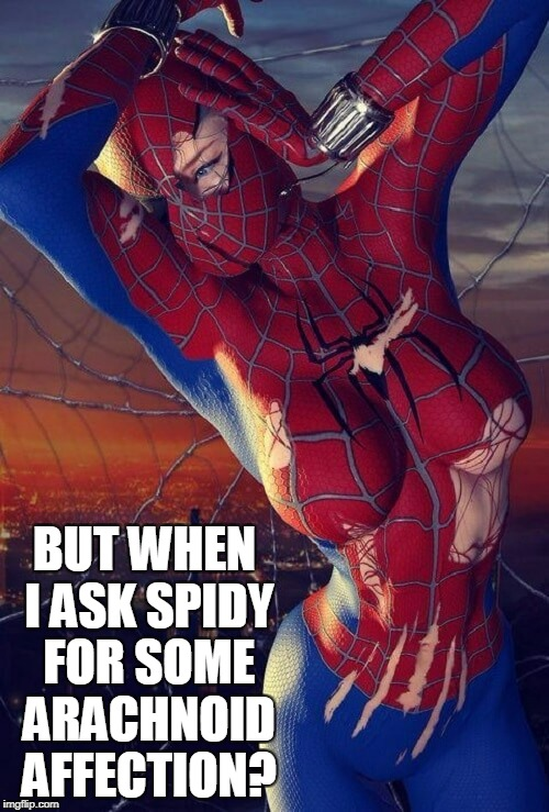 BUT WHEN I ASK SPIDY FOR SOME ARACHNOID AFFECTION? | made w/ Imgflip meme maker