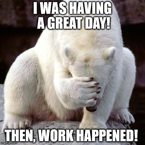 I WAS HAVING A GREAT DAY! THEN, WORK HAPPENED! | image tagged in bear2 | made w/ Imgflip meme maker