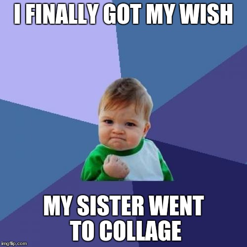 Success Kid Meme | I FINALLY GOT MY WISH MY SISTER WENT TO COLLAGE | image tagged in memes,success kid | made w/ Imgflip meme maker