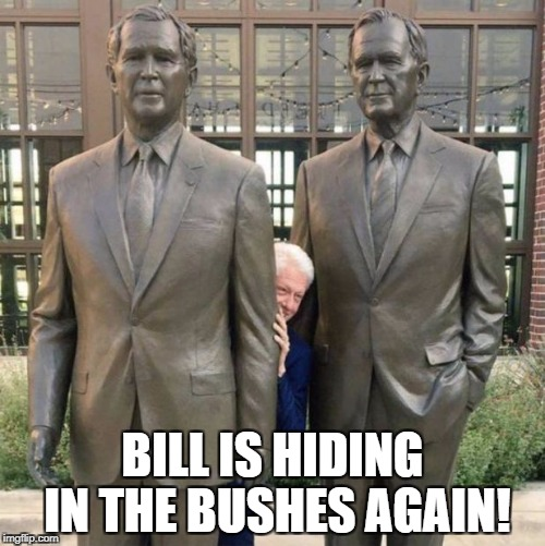Bill in the bushes | BILL IS HIDING IN THE BUSHES AGAIN! | image tagged in bill clinton,george bush,memes | made w/ Imgflip meme maker