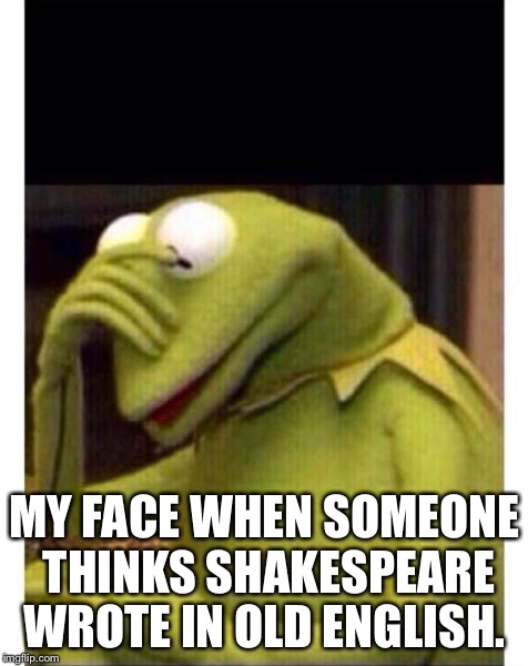Facepalm frog | MY FACE WHEN SOMEONE THINKS SHAKESPEARE WROTE IN OLD ENGLISH. | image tagged in facepalm frog | made w/ Imgflip meme maker