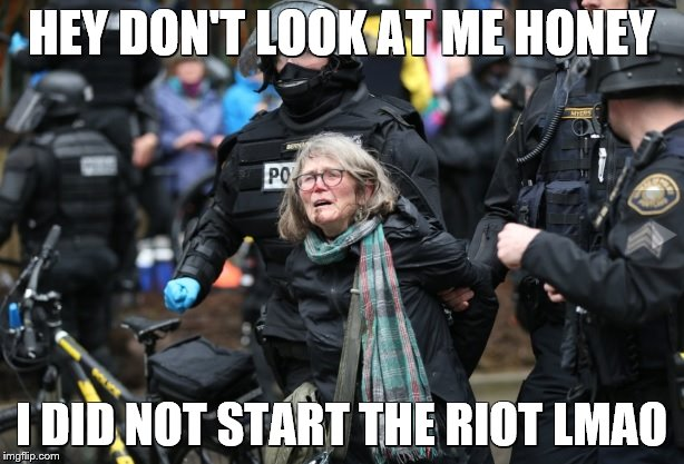HEY DON'T LOOK AT ME HONEY I DID NOT START THE RIOT LMAO | image tagged in portland protester | made w/ Imgflip meme maker
