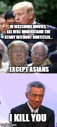I imagine their faces when they watch movies... -_- | IN WATCHING MOVIES, ALL WILL UNDERSTAND THE STORY WITHOUT SUBTITLES... EXCEPT ASIANS I KILL YOU | image tagged in memes,funny memes,asian,movies,subtitle,true story | made w/ Imgflip meme maker