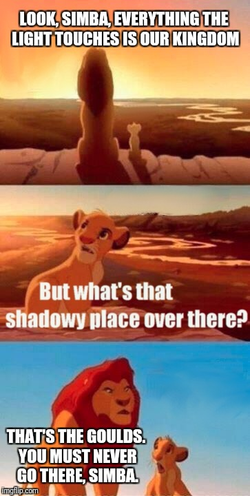 Simba Shadowy Place Meme | LOOK, SIMBA, EVERYTHING THE LIGHT TOUCHES IS OUR KINGDOM THAT'S THE GOULDS. YOU MUST NEVER GO THERE, SIMBA. | image tagged in memes,simba shadowy place | made w/ Imgflip meme maker