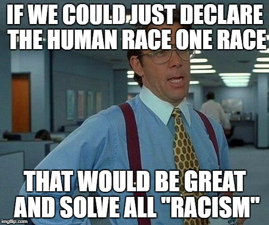 "That Would Be Great Meme | IF WE COULD JUST DECLARE THE HUMAN RACE ONE RACE THAT WOULD BE GREAT AND SOLVE ALL ""RACISM"" 