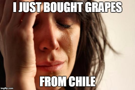 First World Problems Meme | I JUST BOUGHT GRAPES FROM CHILE | image tagged in memes,first world problems | made w/ Imgflip meme maker