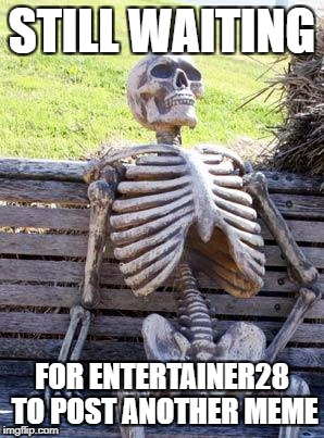 He hasn't posted in a year... | STILL WAITING FOR ENTERTAINER28 TO POST ANOTHER MEME | image tagged in memes,waiting skeleton,entertainer28 | made w/ Imgflip meme maker