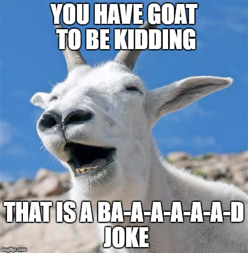 Bad Joke | YOU HAVE GOAT TO BE KIDDING THAT IS A BA-A-A-A-A-A-D JOKE | image tagged in memes,laughing goat | made w/ Imgflip meme maker