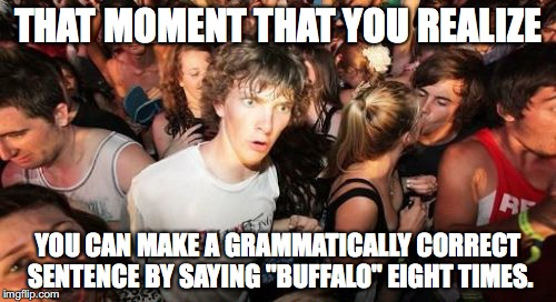 "Sudden Clarity Clarence Meme | THAT MOMENT THAT YOU REALIZE YOU CAN MAKE A GRAMMATICALLY CORRECT SENTENCE BY SAYING ""BUFFALO"" EIGHT TIMES. 