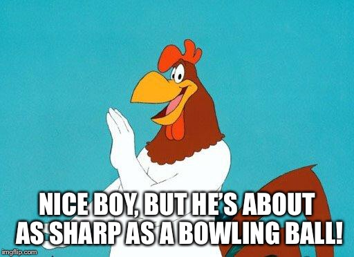 Foghorn Leghorn | NICE BOY, BUT HE'S ABOUT AS SHARP AS A BOWLING BALL! | image tagged in foghorn leghorn | made w/ Imgflip meme maker