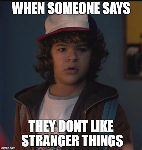 Dustin Face | WHEN SOMEONE SAYS THEY DONT LIKE STRANGER THINGS | image tagged in dustin,strangerthings,funny,memes,dustinface | made w/ Imgflip meme maker