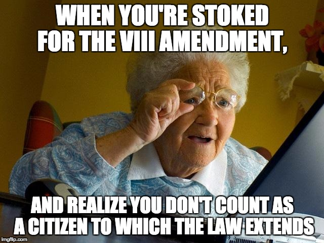 Grandma Finds The Internet Meme | WHEN YOU'RE STOKED FOR THE VIII AMENDMENT, AND REALIZE YOU DON'T COUNT AS A CITIZEN TO WHICH THE LAW EXTENDS | image tagged in memes,grandma finds the internet | made w/ Imgflip meme maker