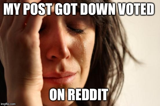 First World Problems Meme | MY POST GOT DOWN VOTED ON REDDIT | image tagged in memes,first world problems | made w/ Imgflip meme maker